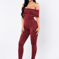 Just Right Jumpsuit - Burgundy