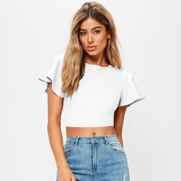 Backless Flare Sleeve Crop Top