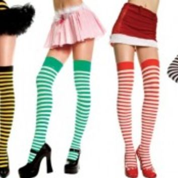 Thigh Hi Striped Stockings Great Colors