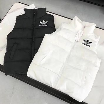 Adidas Clover Winter Fashion Women Men Comfortable Warm Sleeveless Zipper Vest Waistcoat Cardigan Jacket Coat