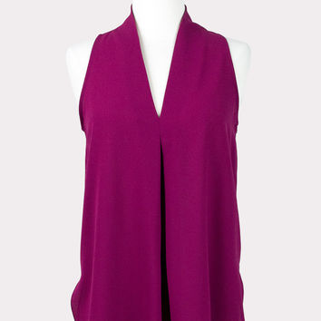 Magenta Pleat Top