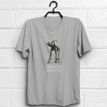 Star Wars, Game of Thrones, At-At, Winter is Coming quote tshirt, adult women men unisex t-shirt, %100 cotton, Eco Friendly