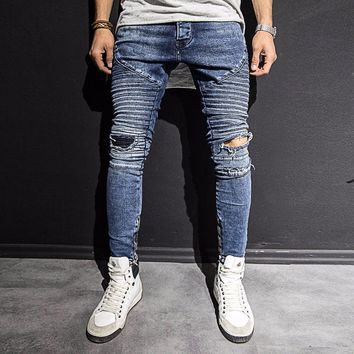 Knee Patched Mens Jeans