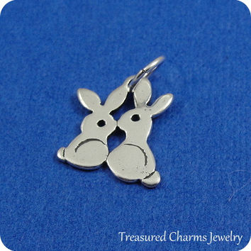 Love Bunnies Charm - Sterling Silver Kissing Bunny Rabbits Charm for Necklace or Bracelet