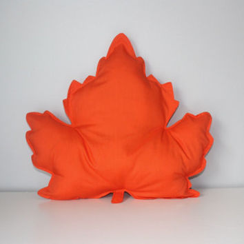 Fall Leaf Pillow Orange/ Leaf Pillow/ Fall Pillows/ Thanksgiving Pillow