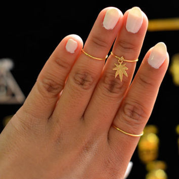CANNABIS WEED MARIJUANA leaf ring set