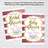 baby Shower OR  bridal shower, rose gold invite, baby boy baby girl, wedding, party invitation - card 1220