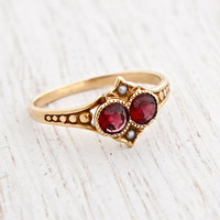 Antique Victorian 10K Gold Garnet & Seed Pearl Ring - Size 6 1/4 Late 1800s Rosy Yellow Gold Fine Jewelry / Crimson Red, White