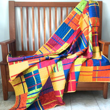 Modern Lap Quilt - Bright Geometric Patchwork - Large Sofa Throw - Homemade Handmade - Wedding Gift - Picnic Quilt - Single Bed Topper
