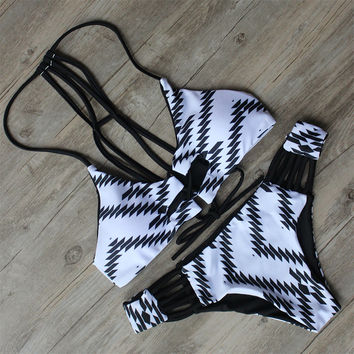 Black White Bikinis Hollow Out Design For Women Swimsuit Bathing Beachwear