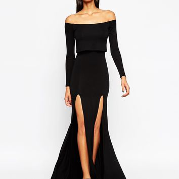 ASOS Long Sleeve Crop Top Bardot Maxi Dress With Double Split