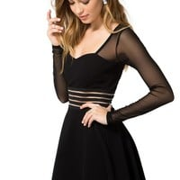Illusion Waist Flare Dress