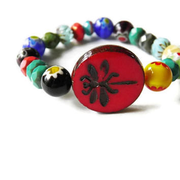 Czech glass dragonfly summer stretch bracelet stacking boho chic rainbow mothers day gift for her