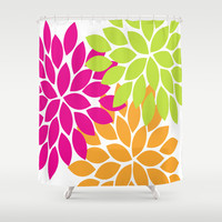 Bold Colorful Hot Pink Lime Orange Dahlia Flower Burst Petals Shower Curtain by TRM Design