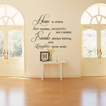 Home is where love resides.. Vinyl Wall Decal Sticker Art
