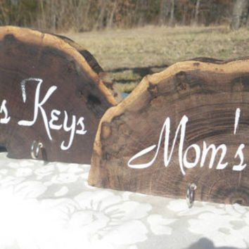 Mom Dad Key Holder Set Rustic Wood  Mother's Father's Day Gift