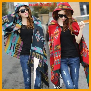 MDIG9GW Women Bohemian Hooded Coat Cape Poncho Shawl Scarf Tribal Fringe Hoodie Jacket