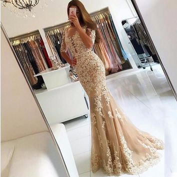 Evening Dresses Champagne Lace Half Sleeves Prom Dresses