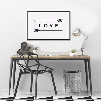 SURE LIFE Love Print Arrow Feather Wall Art Canvas Paintings Minimalist Black White Nordic Poster Pictures  Kids Room Home Decor