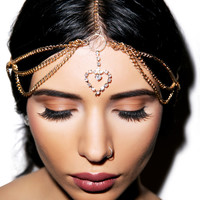Western Fashion Queen of Hearts Head Chain Gold One