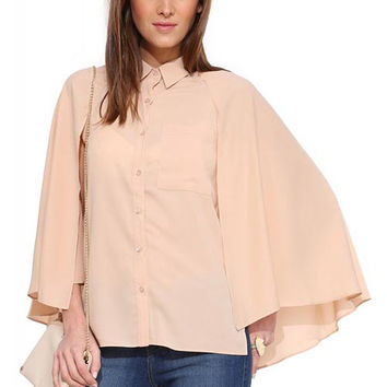 Pink Cape Collared Chiffon Blouse