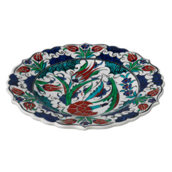Red Tulip Plate with Scalloped Edges