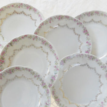 Gorgeous Antique C.T. Bavaria Bread and Butter Plates, Set of 6, Tea Party, Small, Wedding,Salad Plates, Cottage Style, French Shabby Chic