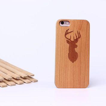 Deer Hunting Laser Engraved Real Wood Phone Case