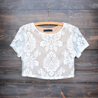 eternal lace embroidered crop top