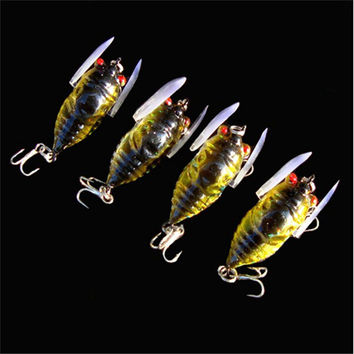 Cicada 6g 4cm Perch Insect Lure Bait Fishing Lure Treble Barb Hooks Fishing Tackle Artificial Bait Fishing accessories