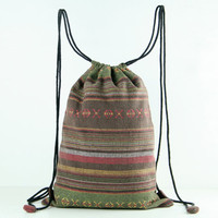 Rustic Reusable Bag Ecofriendly String Backpack Cotton Cloth Bag Tribal/Folk Textile Green/Brown