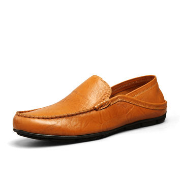 Genuine Leather Men Loafers With Pattern Soft Comfortable Breathable Casual Flats Male Driving Shoes Men Boat Shoes Sperry Shoes