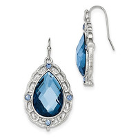 1928 Silver-Tone Blue Teardrop Dangle Earrings