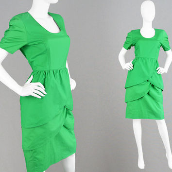 Vintage 80s GUY LAROCHE Boutique Green Cotton Dress Tulip Skirt 80s Designer Dress Layered Dress Made in France Hourglass Dress 1980s Dress