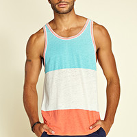 Heathered Colorblock Tank Top Aqua/Coral