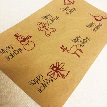 "Kraft Brown Happy Holidays or Christmas Labels for Gift Tags or Mason Jars - 2"" & 2.5"" round tags"