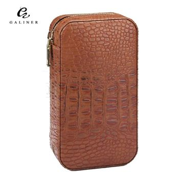 Travel Cigar Humidor Box Leather Cigar Case Portable Cedar Wood COHIBA Humidor Hold 6 Cigars With Humidifier