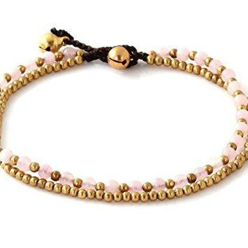 MGD Pink Rose Quartz Color Bead and Brass Bell Anklet 2strand Anklets Beautiful Handmade Brass Anklet Small Anklets Ankle Bracelet Fashion Jewelry for Women Teens and Girls JB0264A