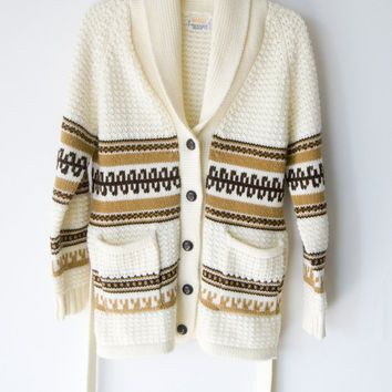 Vintage Mays Beige Shawl Collar Wrap Sweater Coat Western Knitted Size Small Unisex Boho