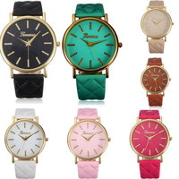 Fashion Women Casual Geneva Roman Leather Band Analog Quartz Wrist Watch = 1931836100