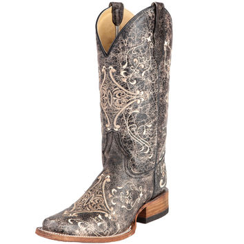 Women's Circle G Brown Crackle Bone Cowgirl Boots