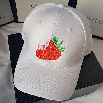 GUCCI Women Strawberry Embroidery Sport Baseball Hat Cap
