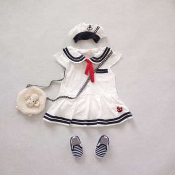 Summer Baby Girl Romper Dress Boys Girls Short Sleeve Romper Scarf Navy Style Overall Bebe Sailor Style Jumpsuit Newborn Costume