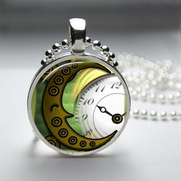 1in Circle Glass Bezel Pendant - Steampunk Style 3D Copper Cog Lined Crescent Moon Over Clock Face - Free Ball Chain Necklace