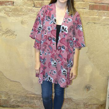 Change is Good Floral Print Kimono
