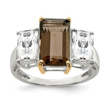 Sterling Silver Sterling Silver & Smoky Quartz and White Topaz Ring