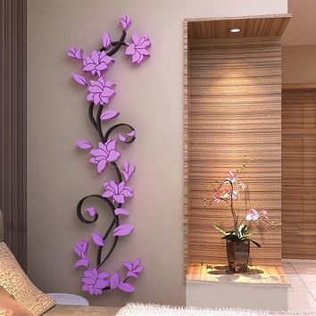 Vinyl Wall Sticker / Decal - Free Shipping - Colorful 3D flowers - Purple