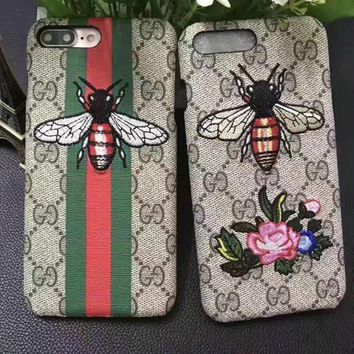 GUCCI Bee Embroidery iPhone Phone Cover Case For iphone 6 6s 6plus 6s-plus 7 7plus
