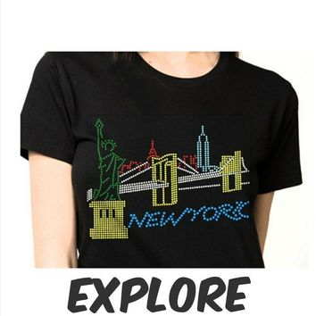 Women's New York  Bling Rhinestones T-Shirt""