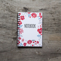 Flower notebook, spiral notebook journal, lined notebook, pocket notebook, blank book pages, travel accessories, mother spring floral art